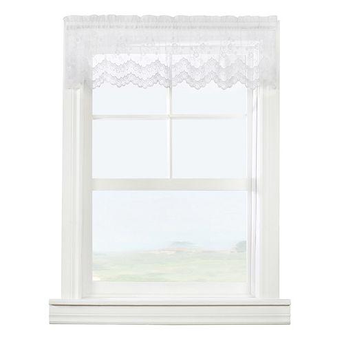 "Mona Lisa Sheer Rod Pocket Window Valance - 56"" W x 15"" L in White"