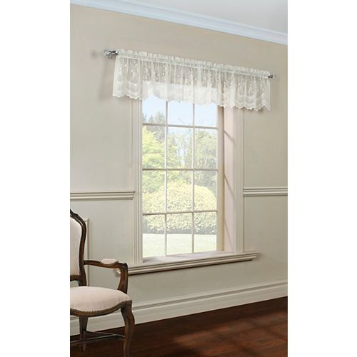 Mona Lisa sheer rod pocket tailored valance scalloped lace, shell 56in x 15in