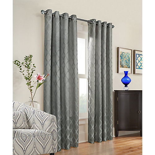 Triumph light filtering woven embossed jacquard, grommet panel, grey 52in x 84in