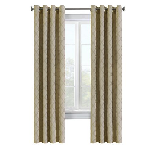 Triumph light filtering woven embossed jacquard, grommet panel, taupe 52in x 84in