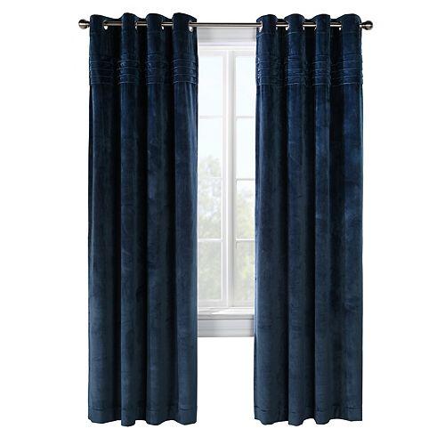 Victorian panneau à oeillets assombrissant en velours peluche plissé en haut, bleu 127cm x 213cm