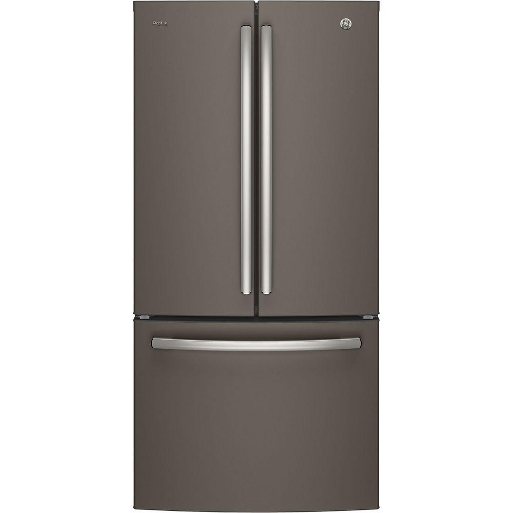 GE Profile 33-inch W 24.8 cu.ft. French Quad Door Bottom Freezer Refrigerator - Slate