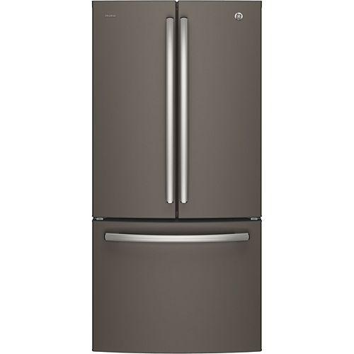 GE Profile 33-inch W 24.8 cu.ft. French Quad Door Bottom Freezer Refrigerator in Slate