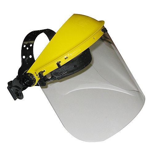 Headgear and Face Shield with Adjustable Ratchet