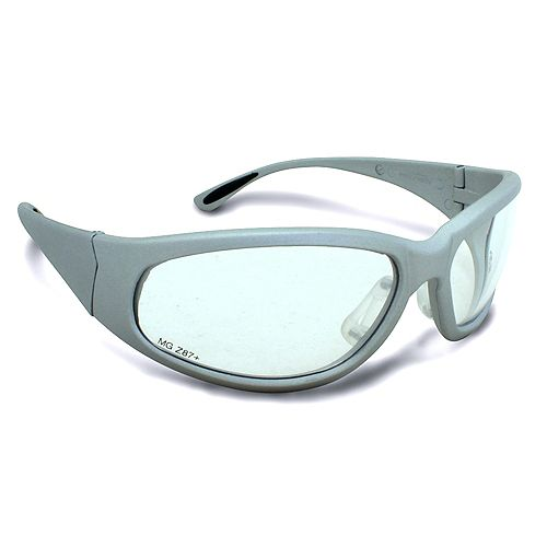Lunnettes de sécurité, à monture grise avec lentille claire