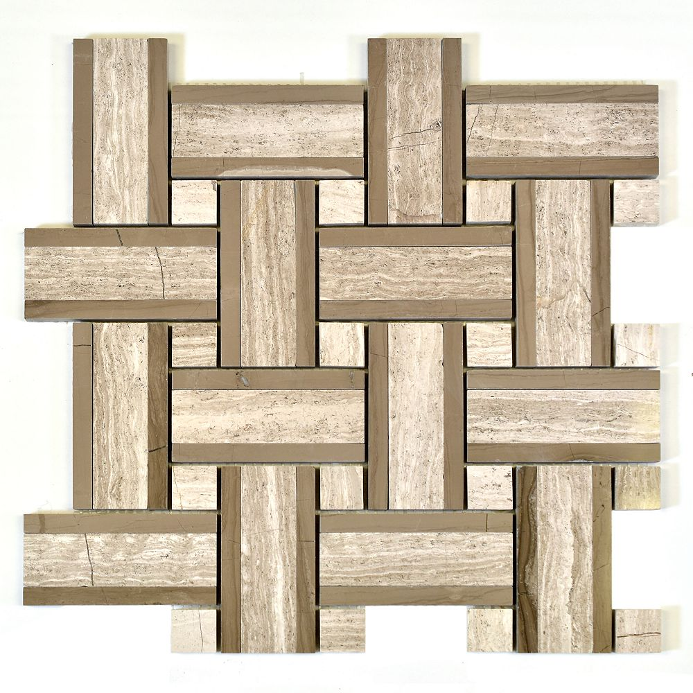 Modamo Tweed Linea Wooden White with Grey Marble Polished Mosaic Tile
