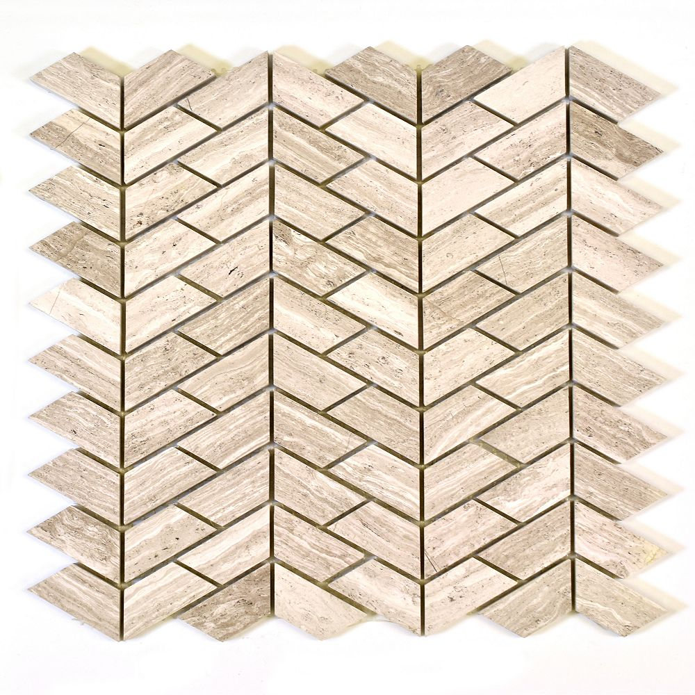 Modamo Verti Wooden White Marble Polished Mosaic Tile