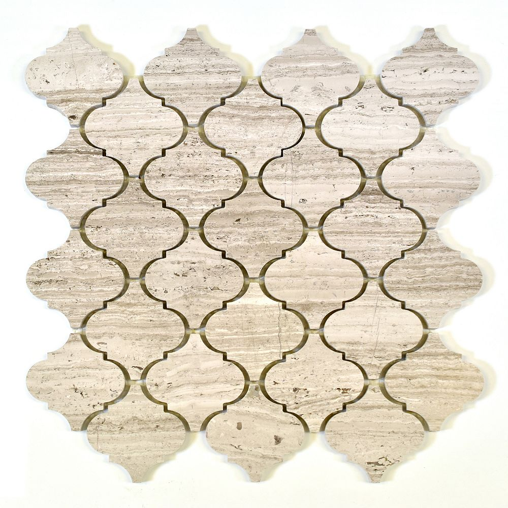 modamo arabesque wooden white 2inch marble polished