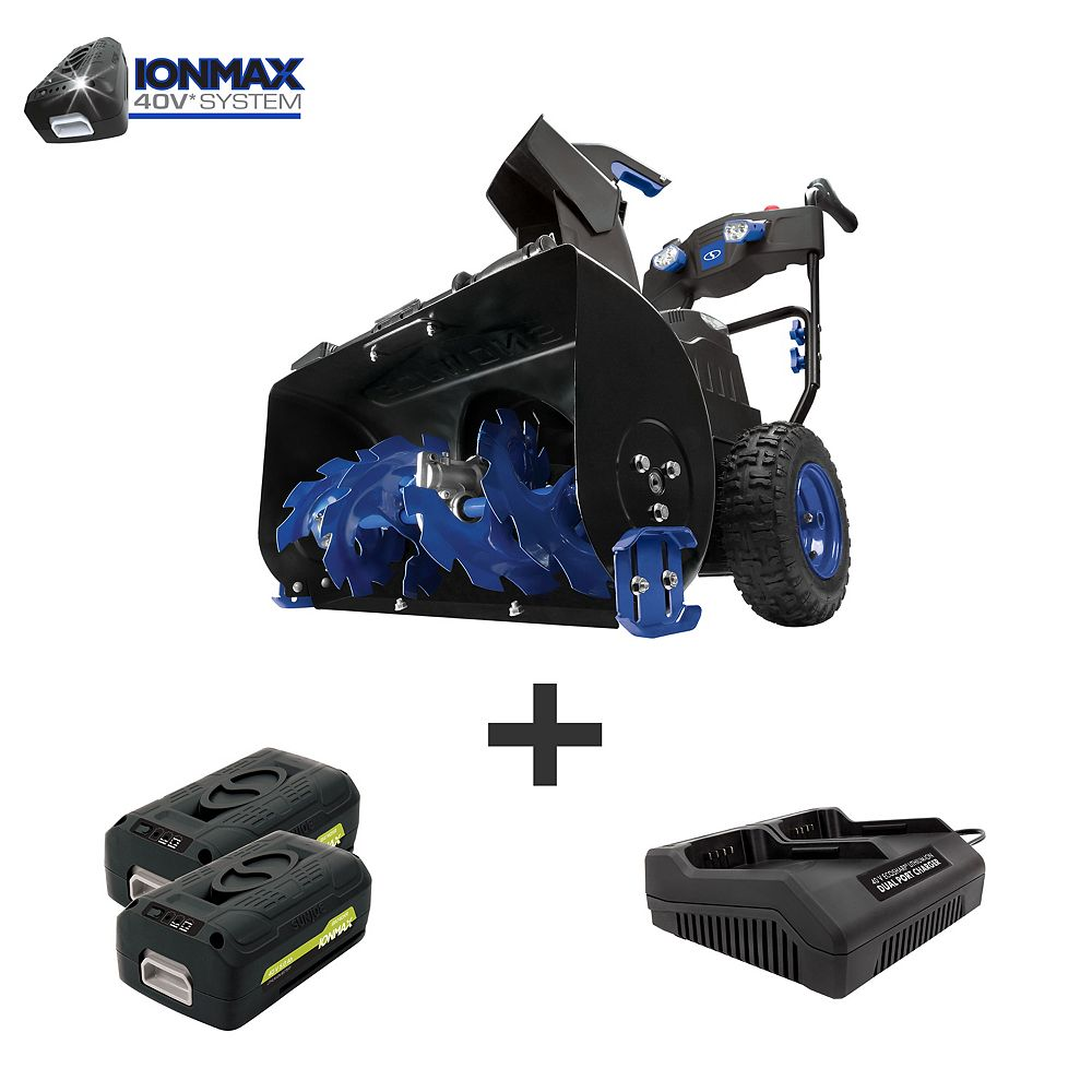 Snow Joe Cordless Two Stage Snowblower   24-In · 80 V · 2 x 5 Ah Batteries   4-Speed