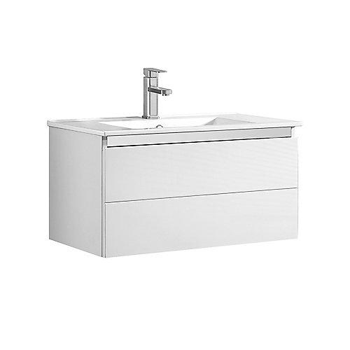 Meuble-lavabo mural CAZ OJV-59 30 in. X 18.13 in. X 16.56 in. en blanc brillant