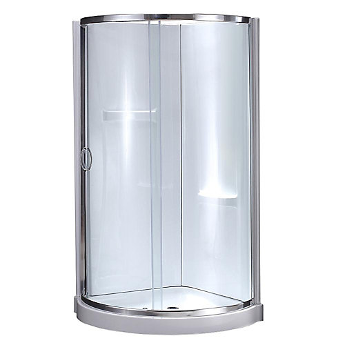 Breeze 34-inch x 34-inch x 78-inch Chrome Round Corner Shower Kit in White with Corner Drain