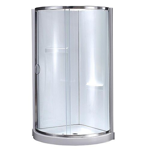 Breeze 34-inch x 34-inch x 78-inch Chrome Round Corner Shower Kit in White with Corner Drain