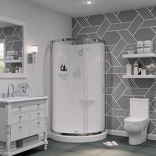 Breeze 36-inch x 36-inch x 36-inch Round Corner Shower Kit in White and Chrome with Corner Drain