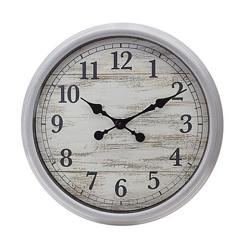 Horloge murale décorative 20 pouces, gris antique avec visage en bois vieilli