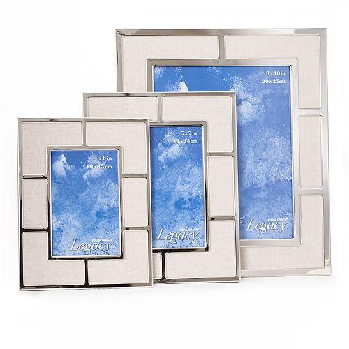 Legacy - Ensemble de 3 cadres en métal plaqué nickelé avec tapis en lin tissé beige