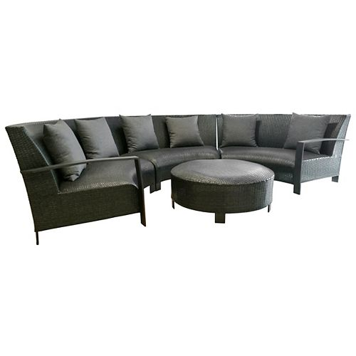 4-Piece Aluminum Sofa Set With Black Wicker and Black Cushions