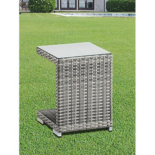Table de cote Avec cadre Aluminum Osier en Gris mélangé
