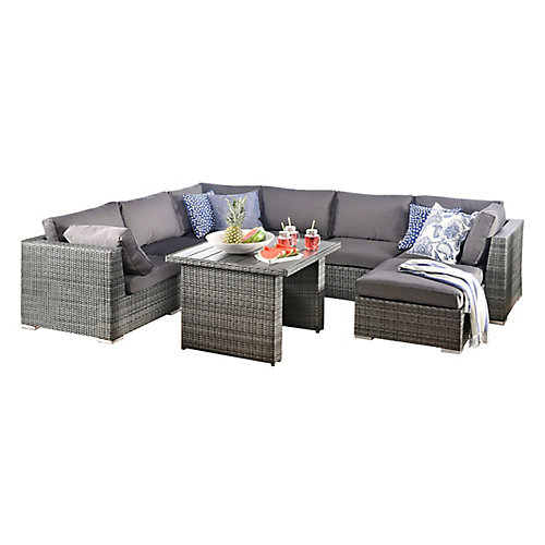 8-Piece Sofa Set With Aluminum Frame Mixed Grey PVC Wicker And Grey Cushions