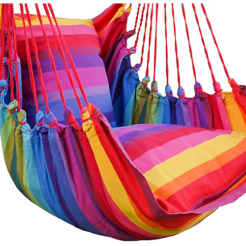Multi Color Large Hammock Swing With Two Cushions 100% Cotton