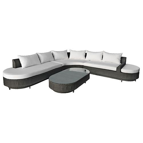 4-Piece Sofa Set With Aluminium Frame Black PVC Wicker And White Cushions