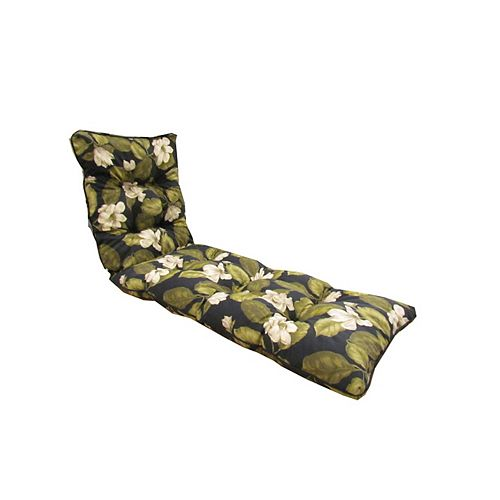 72 x 22 x 4.5 inch Floral Lounge Cushion in Black