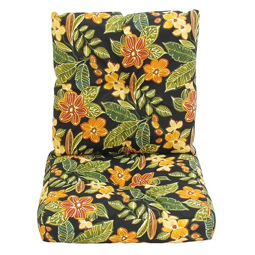 24 x 48 x 5 inch Floral Deep Seat Cushion in Black