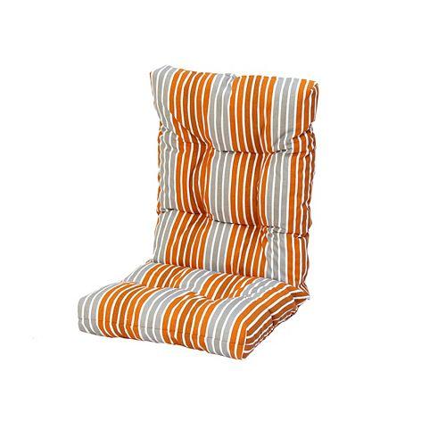 20 x 47 x 4.5 inch High Back Cushion in Orange and Gray Stripe