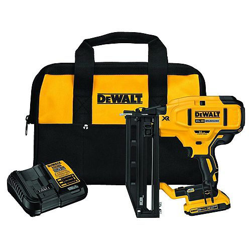 20V MAX XR Lithium-Ion 16-Gauge Cordless Finish Nailer Kit with 2.0 Ah Battery, Charger and Kit Bag