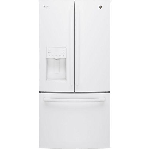 33 po L 23,8 pi.cu. Réfrigérateur inférieur à porte française en blanc