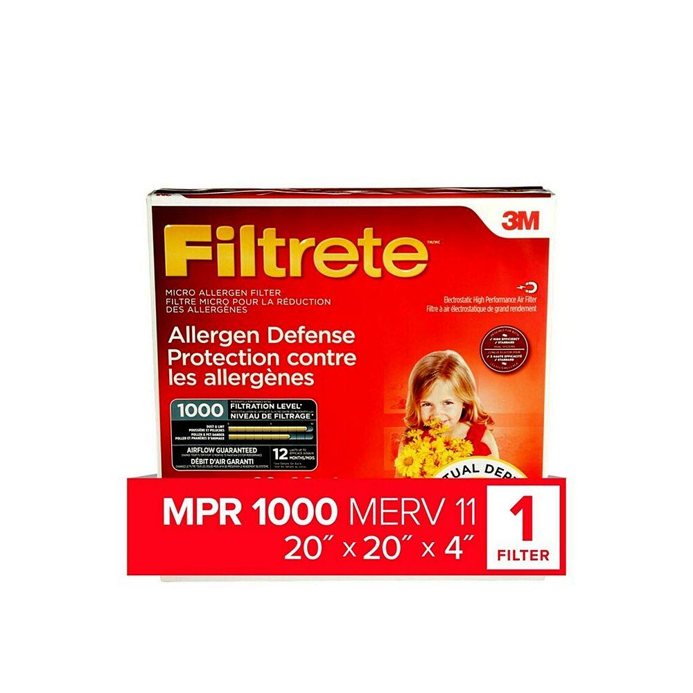Filtrete Allergen Defense Micro Allergen Deep Pleat Filter, MPR 1000, 20-inch x 20-inch x 4-inch