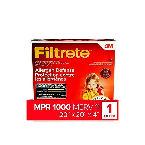Filtre à plis profond à micro-allergène pour la défense contre les allergènes, MPR 1000, 20 po x 20 po x 20 po x 4 po