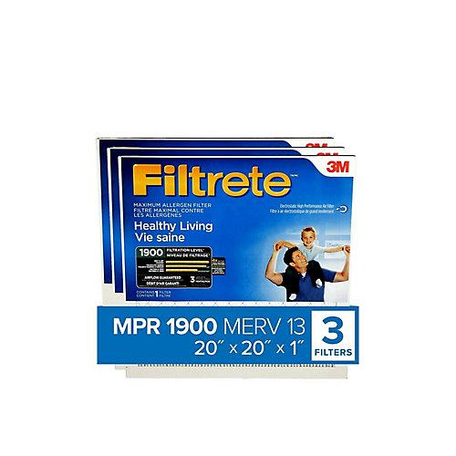 20-inch x 20-inch x 20-inch Healthy Living MPR 1900 Maximum Allergen  Furnace Filter (3-pack)