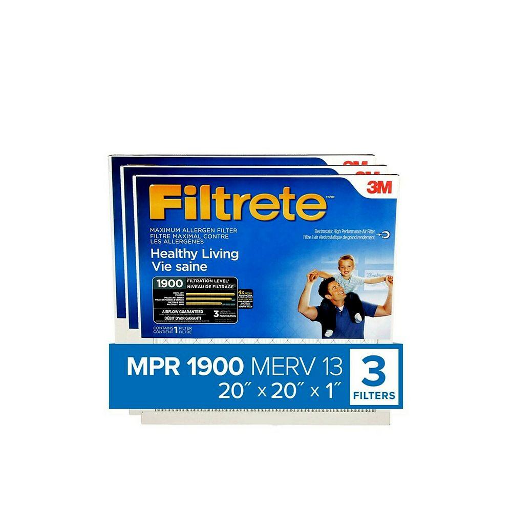 Filtrete Healthy Living 20-inch x 20-inch x 1-inch MPR 1900 Maximum Allergen Furnace Filter (3-Pack)