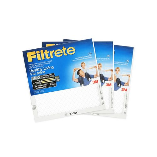 Healthy Living 20-inch x 20-inch x 1-inch MPR 1900 Maximum Allergen Furnace Filter (3-Pack)