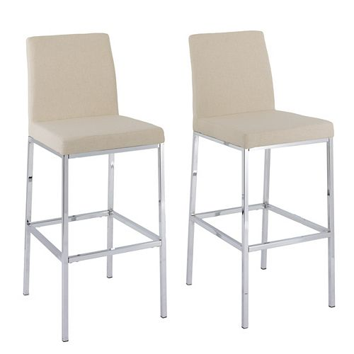 Huntington Bar Height Bar Stools in Beige with Chrome Legs (Set of 2)