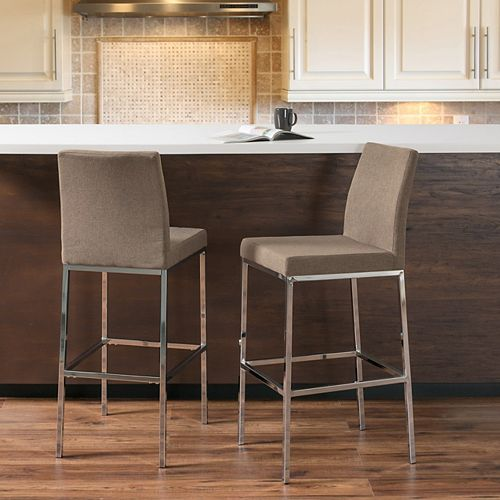 Huntington Brown Fabric Bar Stools with Chrome Legs, Bar Height (Set of 2)