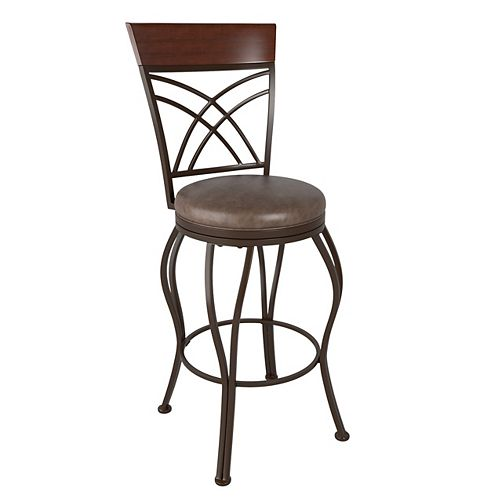 Jericho Metal Bar Height Bar Stool with Rustic Brown Bonded Leather Seat
