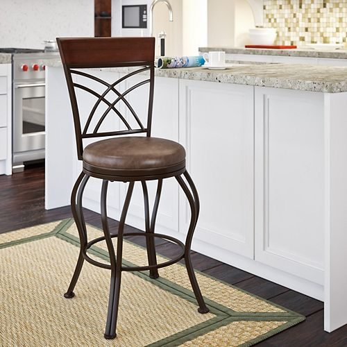 Jericho Metal Counter Height Barstool with Rustic Brown Bonded Leather Seat