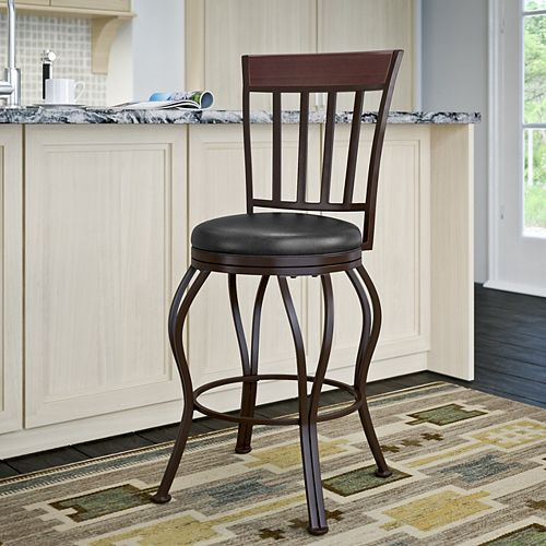 Jericho Metal Counter Height Barstool with Glossy Dark Brown Bonded Leather Seat