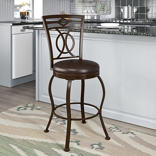 Jericho Metal Counter Height Barstool with Dark Brown Bonded Leather Seat