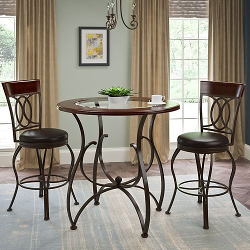 Jericho 3-Piece Counter Height Matte Brown Barstool and Bistro Table Set