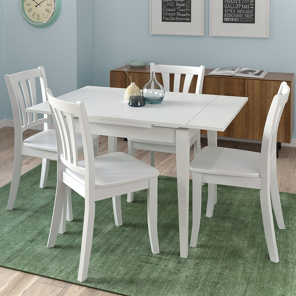 Corliving Dillon 5 Piece Extendable White Wooden Dining Set The Home Depot Canada