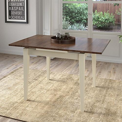 Table extensible Dillon avec 2 rallonges de 8 po, crème/brun foncé