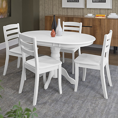 Dillon 5-Piece Extendable White Wooden Dining Set
