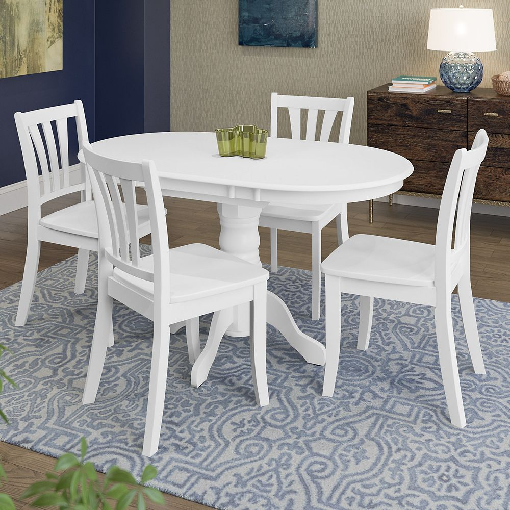 Dillon 9 Piece Extendable White Wooden Dining Set