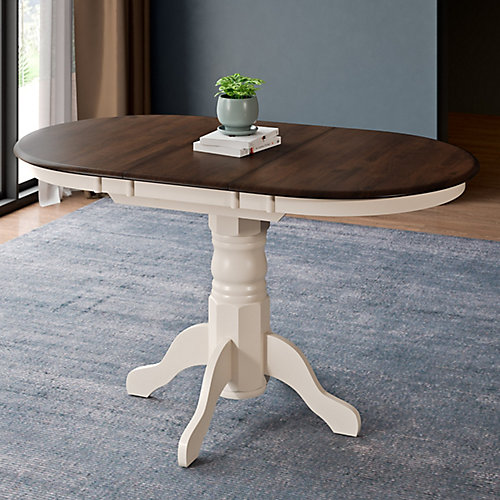 Dillon Extendable Dark Brown and Cream Oval Pedestal Dining Table with 12in Butterfly Leaf