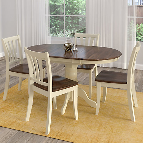Dillon 5-Piece Extendable Dark Brown and Cream Solid Wood Dining Set