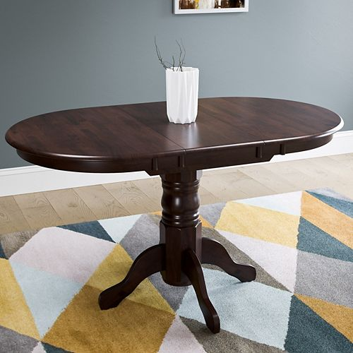 Corliving Dillon Extendable Cappuccino Stained Oval Pedestal Dining Table with 12in Butterfly Leaf