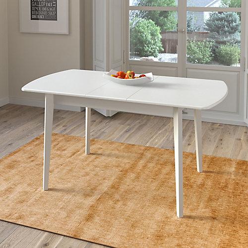 Table oblongue extensible Dillon blanche avec rallonge-papillon 12 po