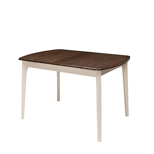 Dillon Extendable Oblong Dining Table in Dark Brown and Cream with 12-inch Butterfly Leaf